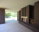 View of the front porch fireplace