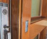 detail of the mahagony entry door