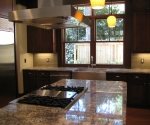 View of the kitchen island