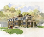 Original watercolor rendering of the home