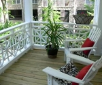 Porches were rebuilt with historic details to match the original.